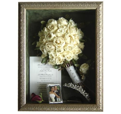 Shadow boxes offer a contemporary look to your keepsake. They are available in a wide variety of shapes and colors and are customized to match the look and feel