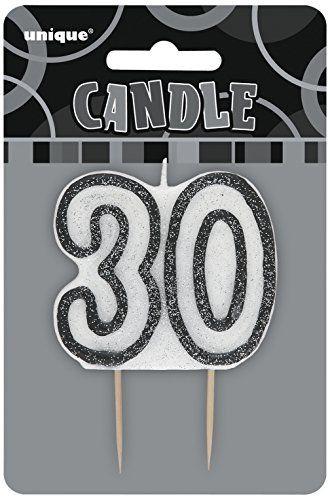 Unique Party – 34423 – Bougie – 30ème Anniversaire – Noir Glitz: 1 Bougie Noire de 30ème Anniversaire Glitz Cette Bougie d'Anniversaire…