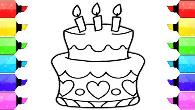 Surprising 32 Awesome Image Of Birthday Cake Drawing Birthday Coloring Funny Birthday Cards Online Alyptdamsfinfo