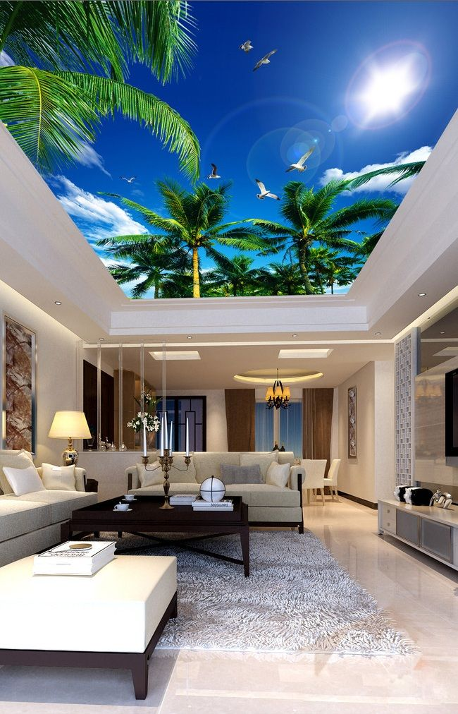 Best 25 ceiling murals ideas on pinterest sky ceiling for Home decor 3d wallpaper