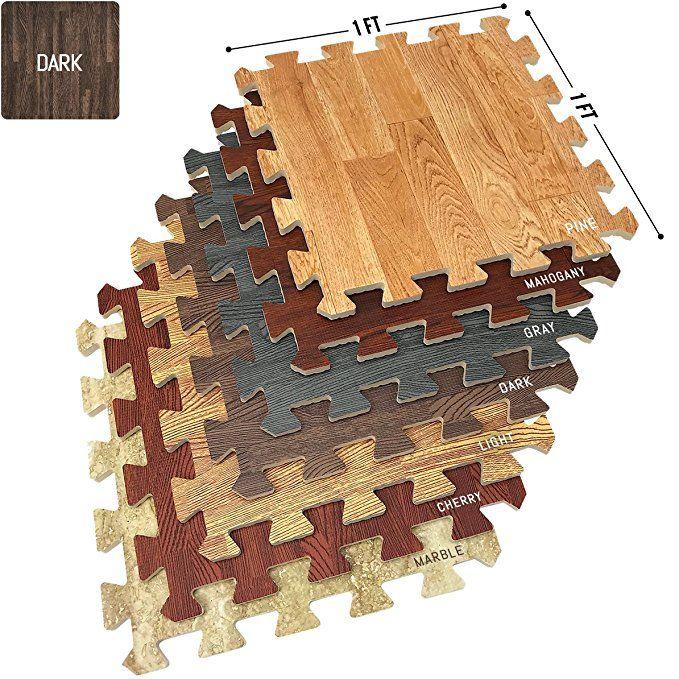 Sorbus Wood Floor Mats Foam Interlocking Wood Mats Each Tile 1 Square Foot 3 8 Inch Thick Puzzle Wood T Home Gym Flooring Interlocking Flooring Wood Grain Tile