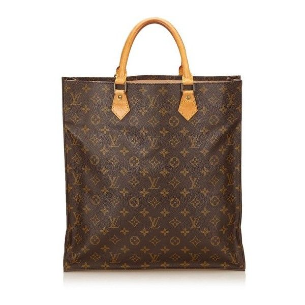 Vintage Louis Vuitton Monogram Sac Plat (2.245 BRL) ❤ liked on Polyvore featuring bags, brown, satchels, brown bag, real leather bags, brown handle bags, hardware bag and louis vuitton bags