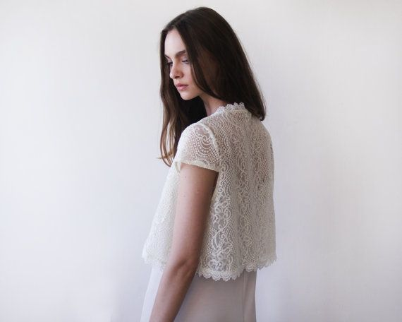 Bridal lace short sleeves bolero, Ivory bridal open top, Short sleeves lace wedding shrug 2023