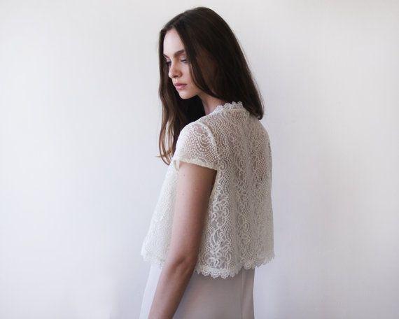 Bridal lace short sleeves bolero, Ivory bridal open top, Short sleeves lace wedding shrug 2023