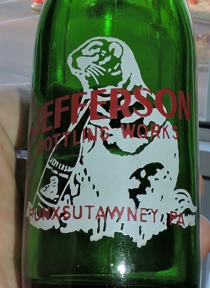 #S1929~Vintage 1950s Green Glass ACL JEFFERSON Soda Bottle Punxsutawney, PA**