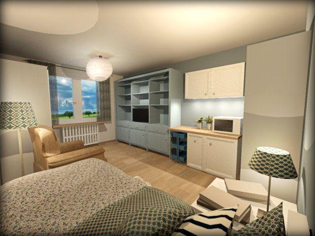 Chambre maison de retraite 3d kitchenette architecture - Salle de bain maison de retraite ...