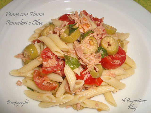 Penne con Tonno Pomodori e Olive