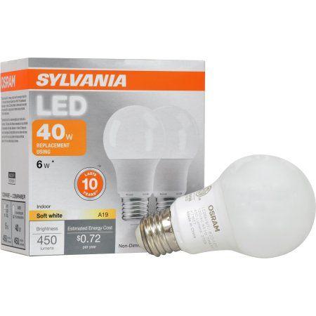 Sylvania LED Light Bulb, 40W Equivalent, A19, Soft White 2700K, 2 Pack