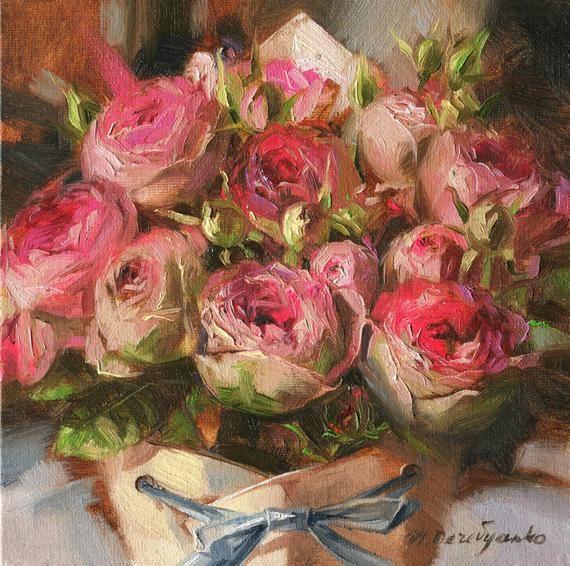 Roses Flowers Oil Painting Original Art Floral Painting Pink Etsy Floral Painting Oil Painting Flowers Floral Oil Paintings