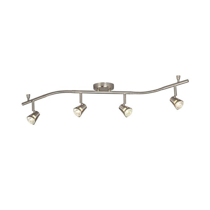 shop galaxy lighting 755595bn 4 light halogen flexible track lighting kit brushed nickel at atg