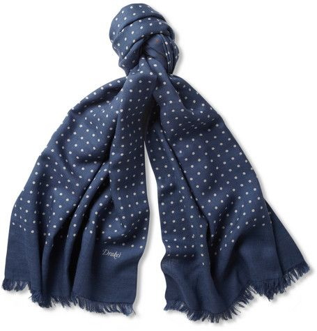Drake's Spot-Print Wool and Silk-Blend Scarf | MR PORTER