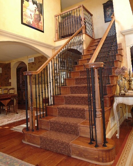 An Old World Staircase Was Created Using The Existing Pine Staircase By  Adding A New Wrought