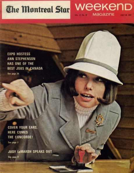 Weekend tabloid magazine featuring a hostess from Expo 67 on the cover, Montréal, Québec, Canada, July 1967, published by The Montreal Star.