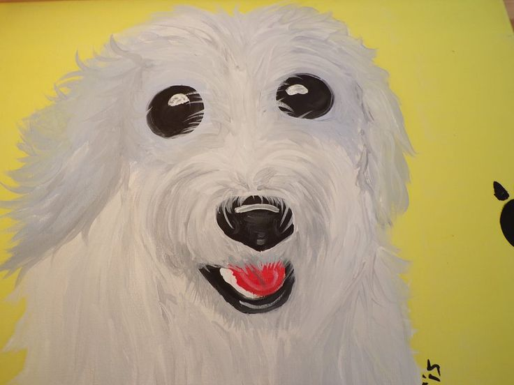 Puppy pawprints white terrier Oil on canvas 30cm x 40cm £25.00 + £3.50 P&P