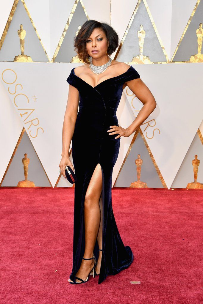 Taraji P. Henson Oscar 2017 Red Carpet Black Velvet Celebrity Dresses for the 89th Academy Awards Mermaid Celebrity Gown
