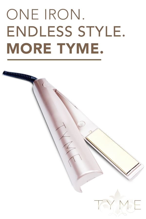 There's no need for a cabinet full of styling tools when one hot iron can do it all. Create silky straight hair, loose beach waves, tight ringlets or any look in-between with the TYME Iron. This single tool will replace your curling iron, curling wand and flat iron. Plus, it's designed to save you TYME. It smooths and curls simultaneously, so you can be out the door with flawless hair in 8 minutes. www.tymestyle.com