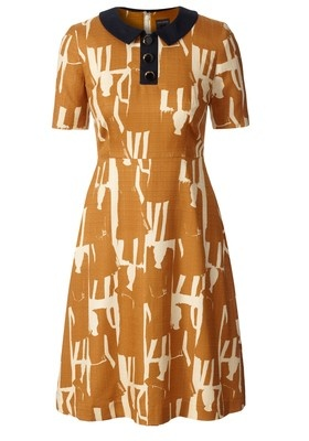 Orla Kiely Textured Silk Collar Dress $495