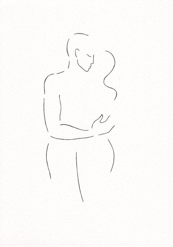 Original ink drawing. Minimalist kiss illustration. Art by Siret Roots.