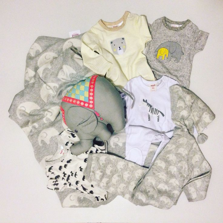 Baby flat lay, baby gender neutral, elephant, bears, Seed heritage
