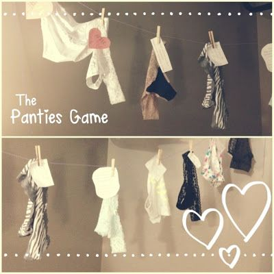 Bachelorette Party Panty Game.  Each person brings a pair of panties and a note for the bride, the bride gets to guess who they are from and she gets new panties!!