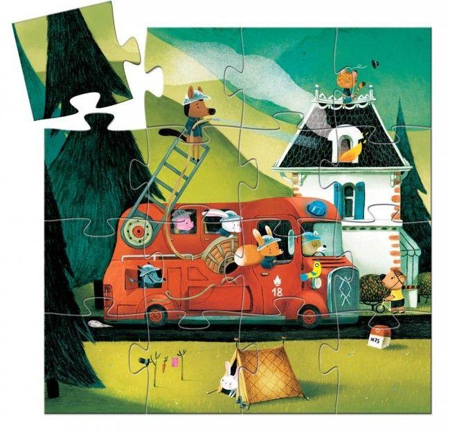Djeco: Casse-tête silhouette Le camion de pompier - 16 mcx - Castello   Jeux et Jouets