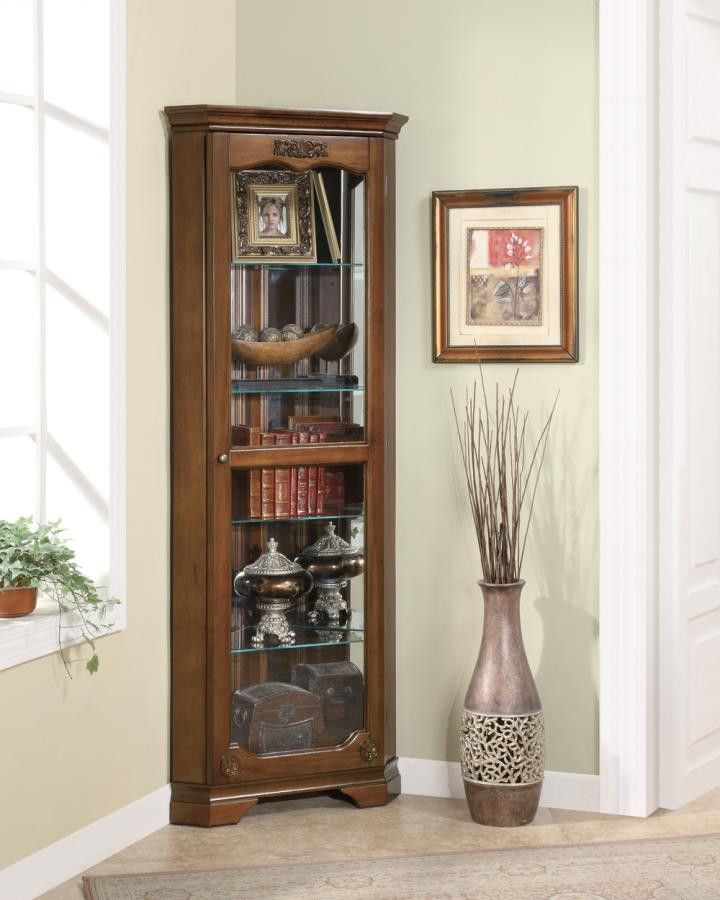 Luxury Lighted Corner Curio Cabinet Cherry