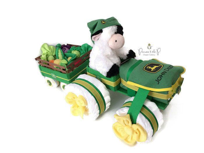 John Deere Diaper Tractor, Diaper Tricycle, Barnyard, john deere, Farm Baby Shower, Topsy Turvy Diaper Cake, Farm, Old MacDonald by PrincessAndThePbaby on Etsy https://www.etsy.com/listing/249494383/john-deere-diaper-tractor-diaper