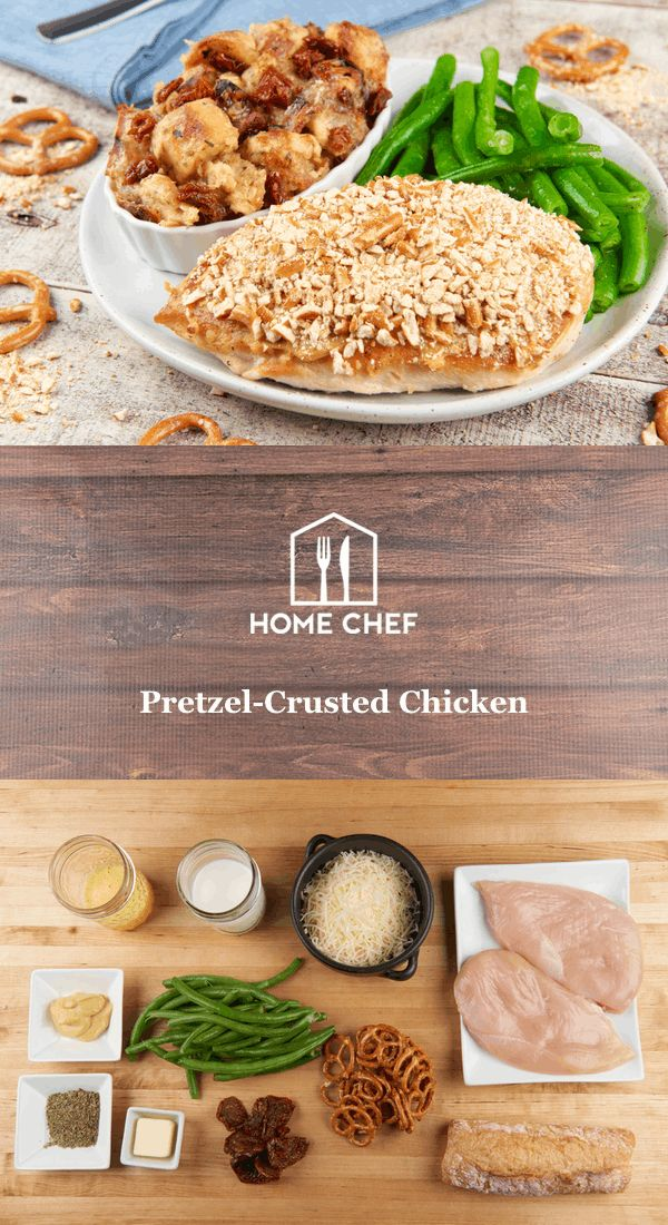 Pretzel-Crusted Chicken With Savory Bread Pudding and Green Beans