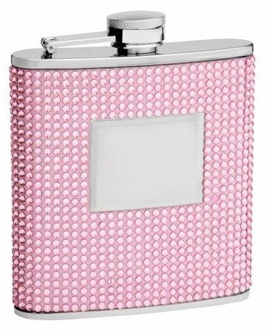 Personalized 6oz Pink Beaded Hip Flask, Free Engraving