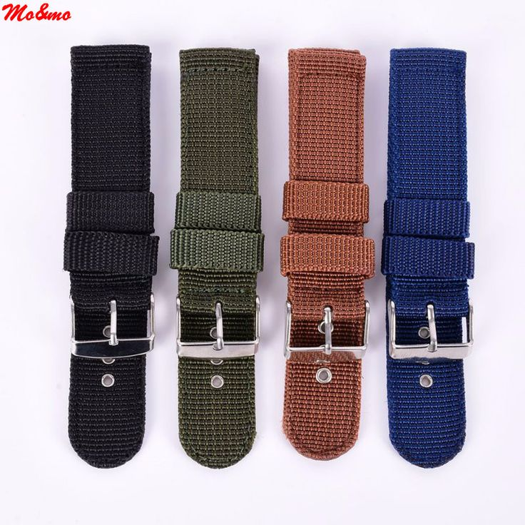 Military Army Nylon Fabric Canva Wrist Watch Band Strap 18/20/22/24mm 4Color Banda de reloj de nylon #CLICK! #clothing, #shoes, #jewelry, #women, #men