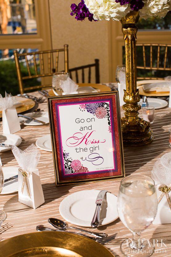 Disney movie wedding lyrics as wedding table numbers for disneyland wedding