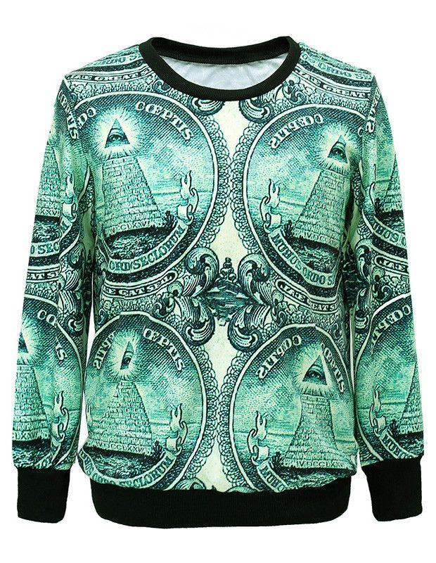 Dollar Bill Pyramid With Eye Of Horus Oversized Pullover Sweatshirt