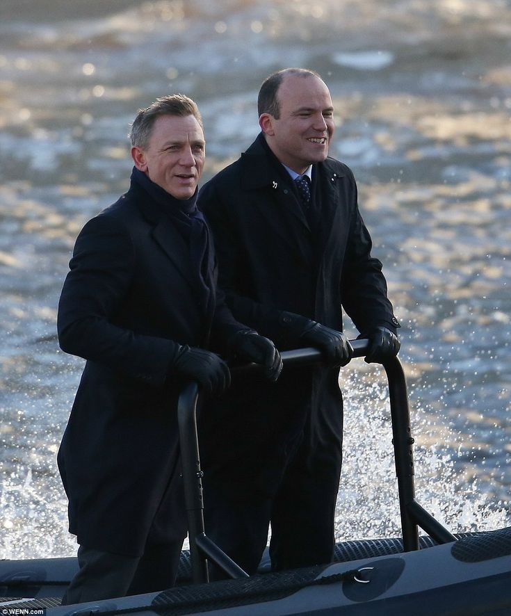 "Daniel Craig as James Bond and Rory Kinnear as MI-6 chief of staff Bill Tanner shooting scenes for ""Spectre""."