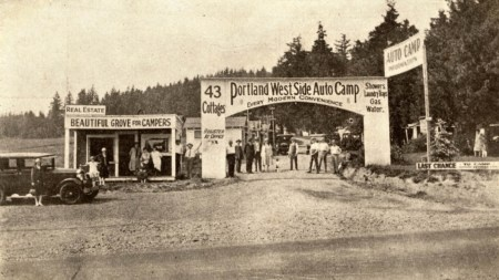 Portland West Side Auto Camp, 1925. Auto camps were a form of early motel and were popular in the 1910s-1930s. Many camps offered cottages and tent camping facilities for early auto travelers. A 1949 article in The Oregonian describes the inadequate sewage facilities of this camp and gives the address as 6259 SW Capitol Highway, which puts it in Hillsdale, right at Capitol and Sunset Blvd.