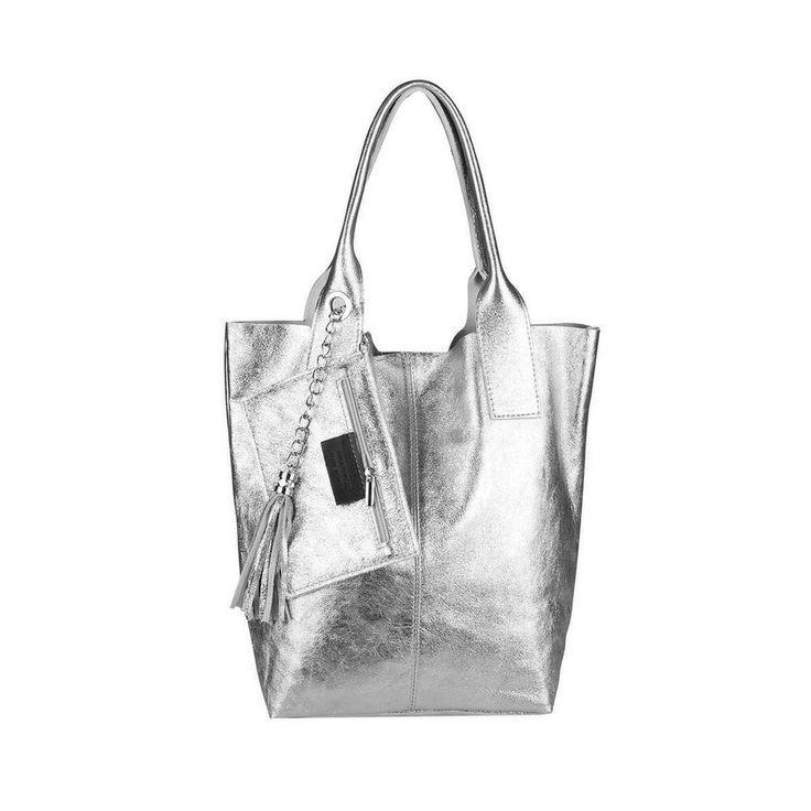 [Werbung] ITALy DAMEN XXL LEDER SILBER HAND-TASCHE Shopper Schultertasche Ledert… – Italyshop24.com