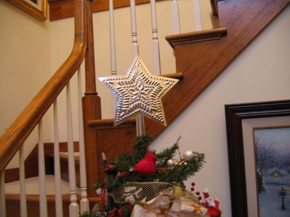 Tin Star Tree Topper 9 Inch Star in Star Pattern by Tinworks