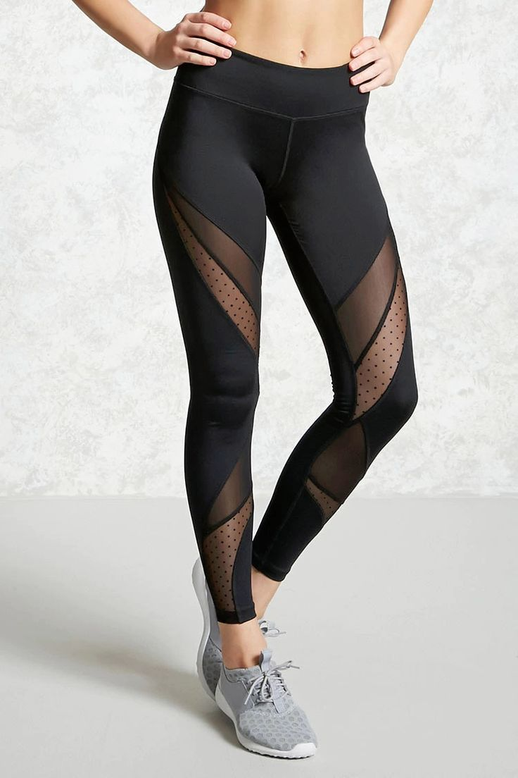 A pair of active leggings featuring mesh inserts, Swiss-dot inserts, a hidden key pocket, and moisture management.