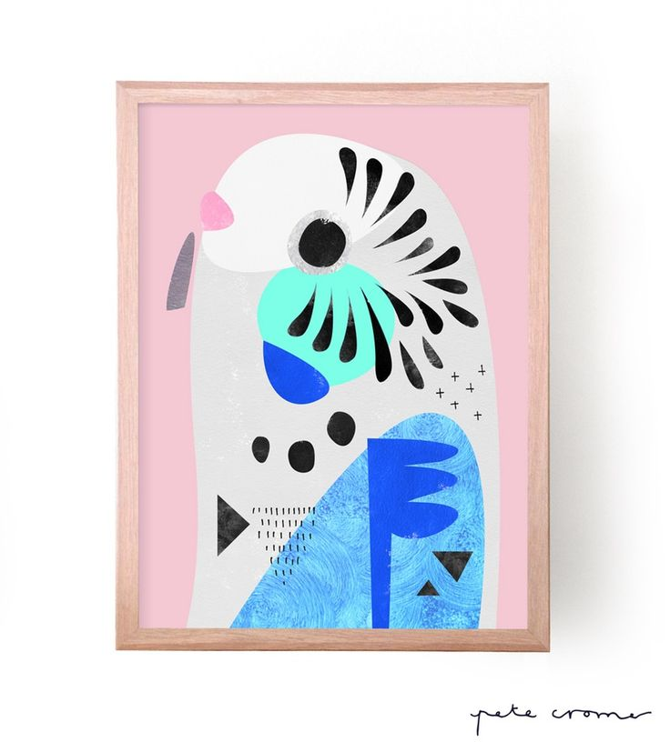 This is a fine art print from the original 'Budgerigar' Artwork by Pete Cromer. Colours have been modified to suit a Blue Budgerigar Avai...