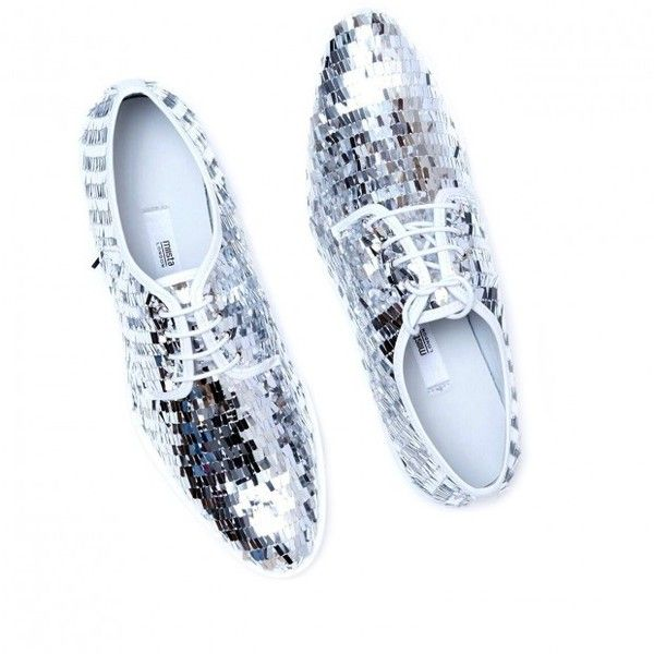 Miista 'Zoe' silver sequin oxford ($99) ❤ liked on Polyvore featuring shoes, oxfords, oxford flat shoes, balmoral oxfords, oxford shoes, oxford brogues and miista shoes