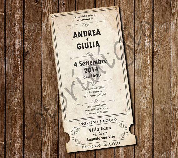 Partecipazione matrimonio in stile biglietto cinema di COLORIdiGIO