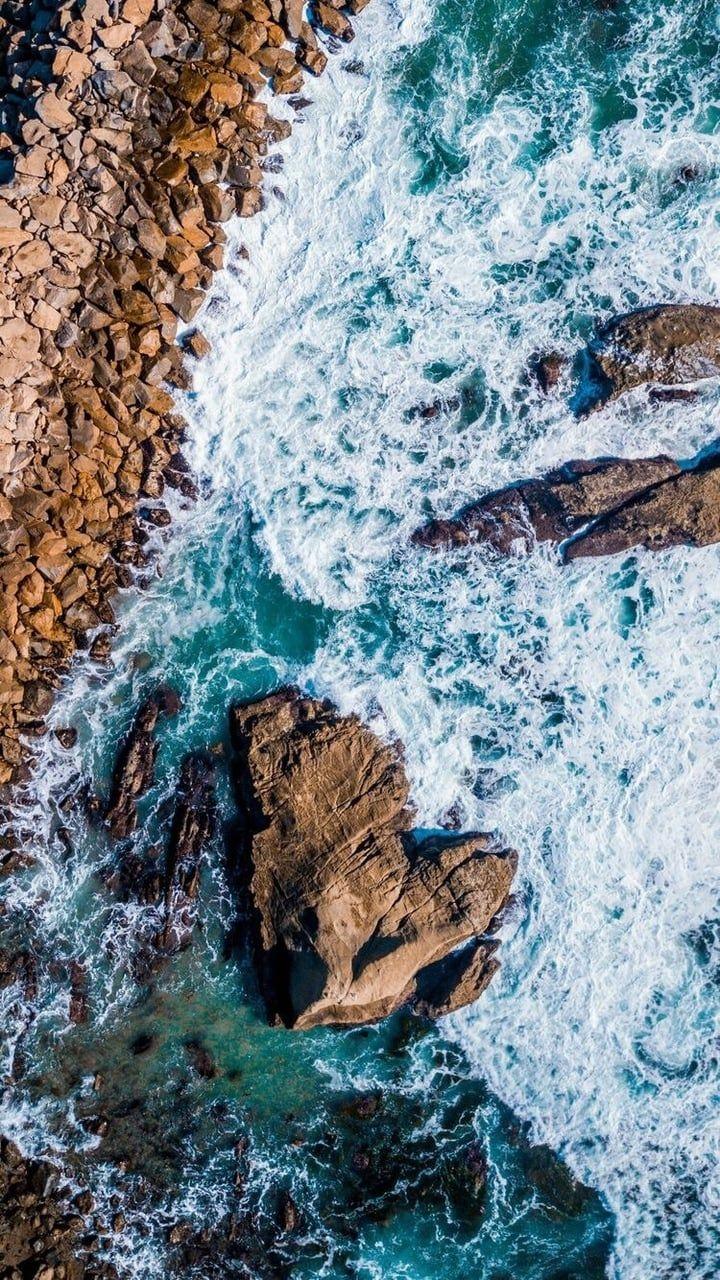 Beach Aerial View Rocks Sea Waves Sea 1080x2160 Wallpaper Aerial Photography Drone Aerial View Sea Photography
