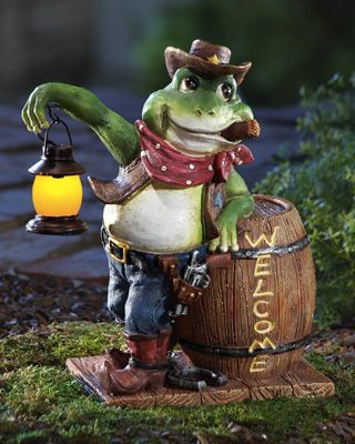 Western Cowboy Lighted Welcome Garden Frog I soooo want this to put in front of the garage - LOVE IT!