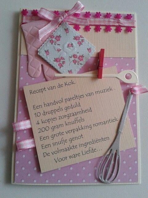 Kaart met gedicht. Recept voor de kok.  In creme roze met pannenlap en garde.