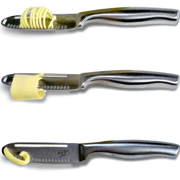 The Butter Knife Magic is the magical butter knife spreader with holes, which curls, twirls, swirls and slices cold hard butter to easily butter your bread.