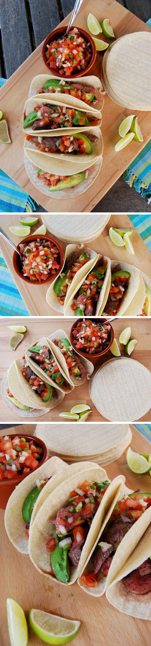 Steak Tacos with Avocado & Pico de Gallo Salsa | www.rachelphipps.com @rachelphipps