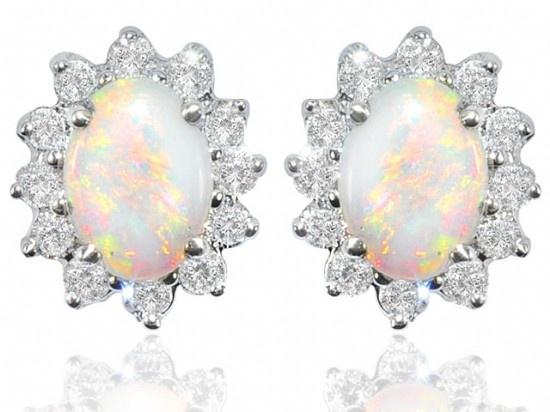 Opal & Diamond Earrings - Nazar's Fine Jewelry