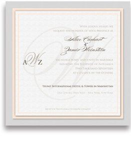 270 Square Wedding Invitations - Monogram Just Peachy by WeddingPaperMasters.com. $675.00. Now you can have it all! We have created, at incredible prices & outstanding quality, more than 300 gorgeous collections consisting of over 6000 beautiful pieces that are perfectly coordinated together to capture your vision without compromise. No more mixing and matching or having to compromise your look. We can provide you with one piece or an entire collection in a on...