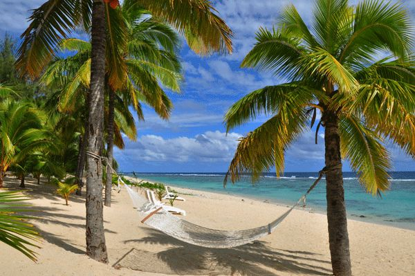Relax on this white sandy beach on your very own hammock!