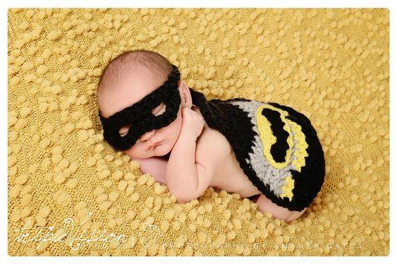 Newborn Little Bat Baby Cover Cape Hat and Mask Crochet Photo Prop Super Hero Set