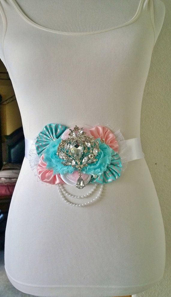 Pink and Blue Gender Reveal Maternity Sash by BridalBlingNBowtique